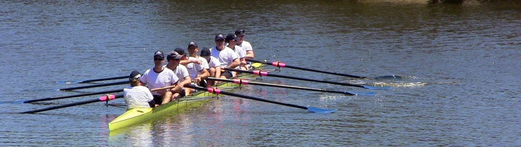 The Oxford eight on the water. Perfect conditions for the Swan Blues Cup.